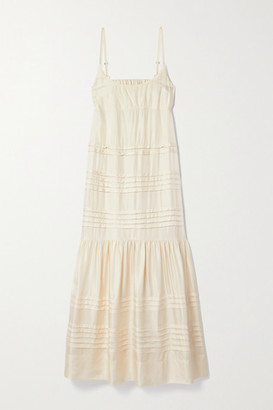 Lee Mathews Emiko Pintucked Satin-twill Maxi Dress - Cream