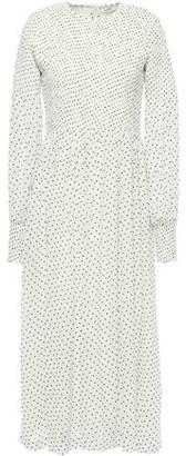 Ganni Rometty Shirred Polka-dot Georgette Midi Dress