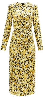 Ganni Floral-print Silk-blend Jersey Midi Dress - Yellow Print