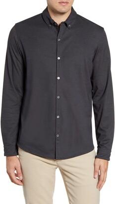 Zachary Prell Glacier Regular Fit Button-Down Cotton Blend Knit Shirt