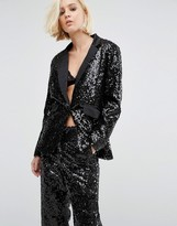 Religion Holidays Longline Tuxedo Jacket In Sequin
