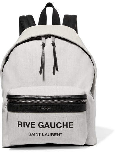 Saint Laurent Mini City Leather-trimmed Printed Canvas Backpack