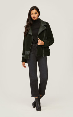 Soia & Kyo LINNEA faux Sherpa jacket with moto collar