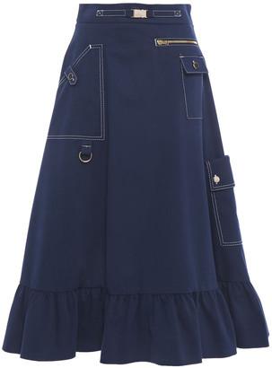 Stella Jean Ruffled Cotton-blend Twill Midi Skirt