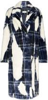 Xu Zhi tartan patch faux fur coat