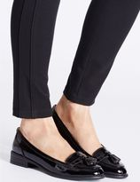 Marks and Spencer Wide Fit Leather Block Heel Tassel Loafers