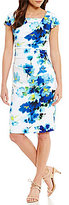 Adrianna Papell Printed Floral Stretch Crepe Drape Neck Dress