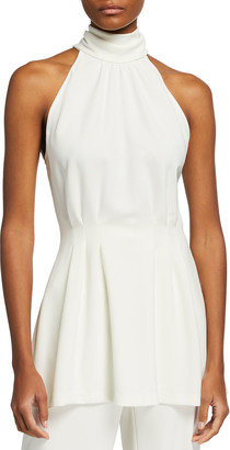 Lela Rose Halter-Neck Crepe Tunic Top