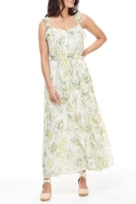 Gal Meets Glam Cheryl Printed Drawstring Waist Maxi Dress