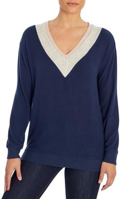 Three Dots Brush Varsity V-Neck Sweater