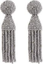 Oscar de la Renta Classic beaded tassel clip-on earrings