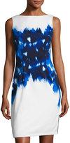 Maggy London Ikat Poppy Scuba Sheath Dress, White/Blue
