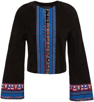 Etro Jacquard-trimmed Suede Jacket