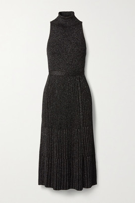 Diane von Furstenberg Lennon Ribbed Metallic Merino Wool-blend Midi Dress - Black