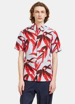 Marni Men's Whisper Botanic Print Crumpled Shirt In Blue And Red