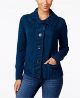 Karen Scott Marled Wing-Collar Cardigan, Only at Macy's