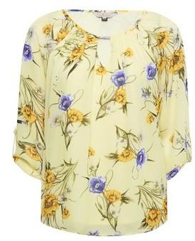 Dorothy Perkins Womens Billie & Blossom Lemon Floral Print Trim Blouse