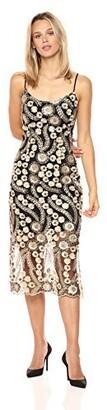 Bebe Women's 3D Flower Lace Midi Dress