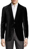 Armani Collezioni R-Line Textured Velvet Two-Button Sport Coat, Black