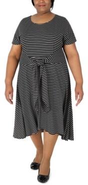 Robbie Bee Plus Size Striped Tie-Waist Fit & Flare Dress