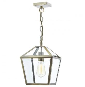Dar Lighting - Antique Brass Churchill Pendant Light - Gold/Glass