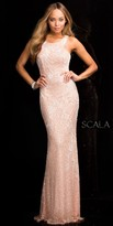 Scala Racer Back Cut Out Beaded Prom Dress
