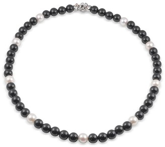 Alor Stainless Steel, 6-8MM Freshwater Pearl Black Onyx Necklace