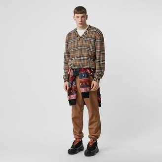 Burberry Leopard Detail Vintage Check Cashmere Blend Sweater
