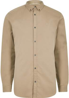 River Island Mens Tan wasp embroidery stretch long sleeve shirt