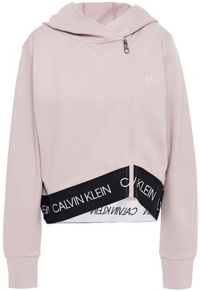Calvin Klein Monogram-trimmed Stretch-jersey Hoodie
