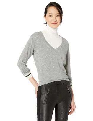Monrow Women's Dark Heather Supersoft V Neck L/S W/Elastic Cuff Small