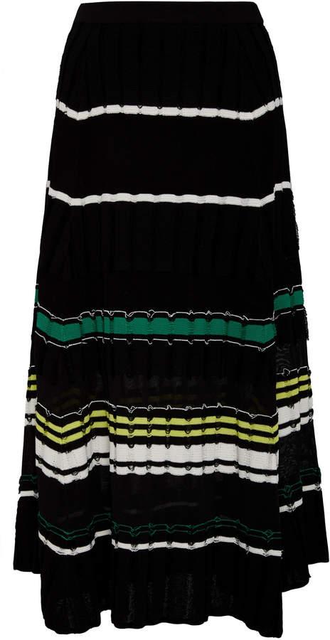 Striped Fil Coupe Cotton-Blend Midi Skirt