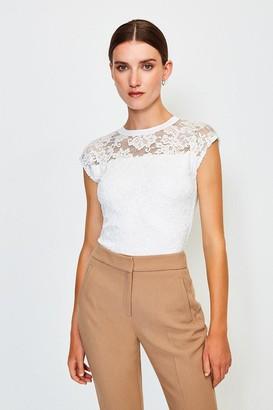 Karen Millen Lace Jersey Top