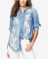 Rachel Roy Split-Back Metallic-Detail Shirt, Created for Macy's