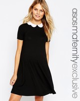 Asos Swing Dress with Contrast Scallop Collar With Short Sleeve