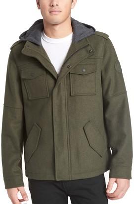 Levi's Levis Men's Wool-Blend Four-Pocket Hooded Military Jacket