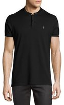 Saint Laurent Leather-Collar Polo Shirt, Black
