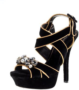 Dolce & Gabbana Black Velvet Metallic Gold Leather Trim Crystal Embellished Cross Strap Platform Sandals Size 37