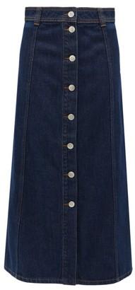 Ganni Buttoned Denim Midi Skirt - Womens - Dark Denim