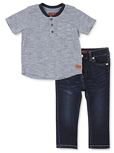 7 For All Mankind Boys' Thermal Henley Tee & Jeans Set - Little Kid