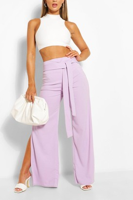boohoo Side Split Belted Wide Leg Trouser