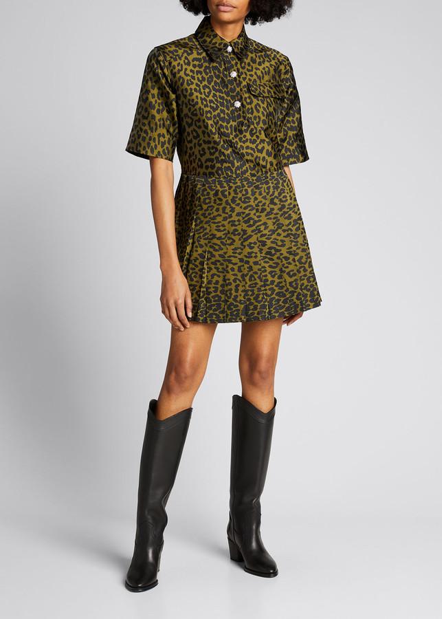 Ganni Crispy Jacquard Button-Front Dress