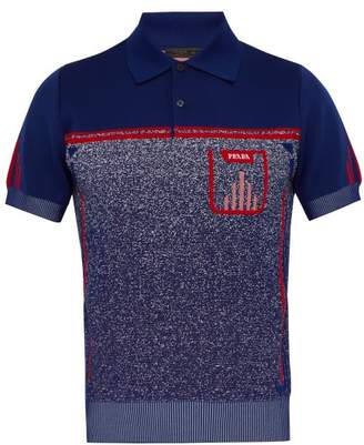 Prada Gradient Intarsia Stretch Knit Polo Shirt - Mens - Blue