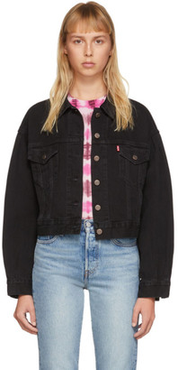 Levi's Levis Black Denim Pleated Trucker Jacket