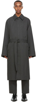 Lemaire Grey Wool Military Trench Coat