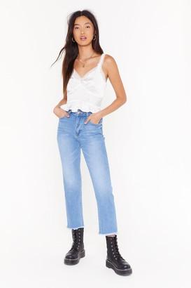 Nasty Gal Womens Raw the Line High-Waisted Mom Jeans - Blue - 12