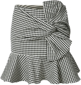 Veronica Beard Gingham Ruffle Mini Skirt