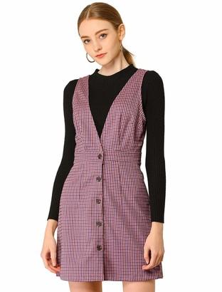 Allegra K Women's Overall Dress Button Front Tartan Pinafore Dress S Pink