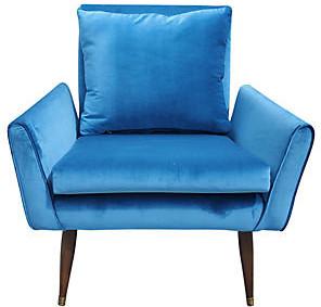 One Kings Lane Vintage Mid Century Modern Blue Velvet Chair - Interesting Things