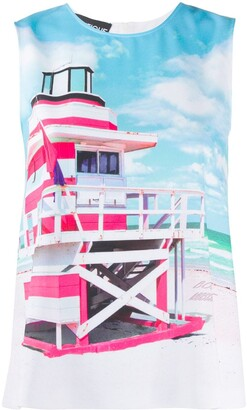 Boutique Moschino Beach Hut-Print Tank Top